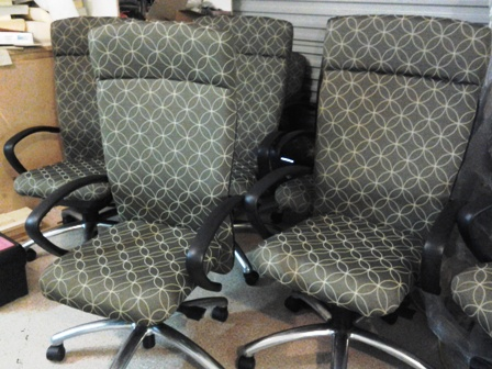 Re-upholstered office chairs